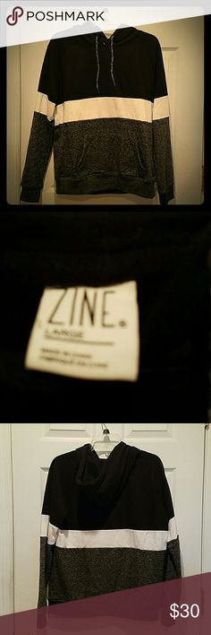 Zine Hoodie Black, grey, and white striped hoodie. Super cozy and warm! Worn once, I'm not even sure it ever left the house. Zine Jackets & Coats
