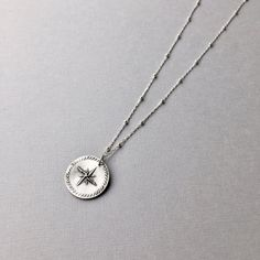 "Pure Silver North Star Pendant - handmade and suspends from a sterling silver satellite ball chain, select your length from 16""-18"".  Ideal gift for the traveler, graduate, or bestfriend. ( $50) #starpendant #layeringnecklace #silverjewelry"