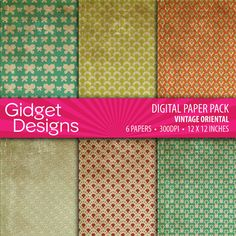 Digital Paper Pack: Vintage Oriental Distressed Texture effect paper INSTANT DOWNLOAD