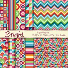 Digital Papers Printable Papers Scrapbook Papers - Bright Geometric - Commercial and Personal Use. $6.00, via Etsy.