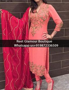 Elegant Salmon Embroidered Churidar Suit Product Code: We Can also Design any Suit of your Own Design and any Color Combination Exclusive designs available,only at Reet Glamour Boutique,Jalandhar Contact or whats aap us 9872336509 reetglamour Indian Suits, Indian Attire, Indian Dresses, Indian Wear, Punjabi Fashion, Indian Fashion, Bollywood Fashion, Indian Designer Wear, Designer Punjabi Suits