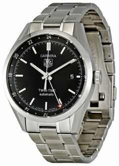 TAG Heuer Men's WV2115.BA0787 Carrera Calibre 7 Twin Time Automatic Black Dial Steel Bracelet Watch TAG Heuer. $1996.25. Water-resistant to 99 feet (30 M). Case diameter: 38.2 mm. Quality Swiss Automatic Movement; Functions without a battery; Powers automatically with the movement of your arm. Stainless-steel case; Black dial; Luminous hands and markers; Date function; GMT function; 24-Hour markers on bezel. Scratch-resistant sapphire crystal with sapphire exhibition back