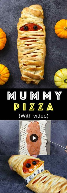 Easy Halloween Mummy Pizza – Adorable Halloween recipe that's incredibly easy to make. All you need is a few ingredients: pizza dough, shredded mozzarella, marinara sauce, pepperoni and black olives. So cool! Fun and spooky Halloween recipe. Party recipe. Video recipe. | Tipbuzz.com