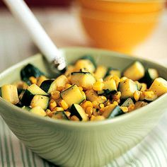 Zucchini With Corn and Cilantro    Whip up this simple Tex-Mex side dish on your next taco night as a substitute for salsa or guacamole salad. It's low-cal, but rich in vitamins A and C and folate.