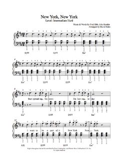 New York, New York by Frank Sinatra Piano Sheet Music | Intermediate Level