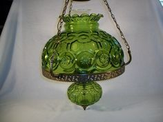 Large Moon and Star Pattern Hanging Lamp w/ Green Glass Shade Vintage LE Smith | eBay