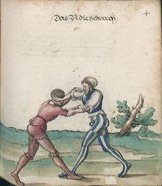 Title: Goliath (MS Germ.Quart.2020), Page: Folio 114r, Date: 1510-1520 Historical European Martial Arts, Fight Techniques, Landsknecht, Sword Fight, Western Art, Self Defense, Fencing, 16th Century, Mma