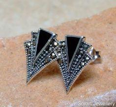Art Deco Style Black Onyx Marcasite Stud Earrings
