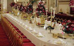 This is the State Ballroom at Buckingham Palace set up for a state dinner.  I guess this is the ultimate tablescape.