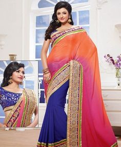 Picture of Fascinating Blue And Orange Chiffon Sarees