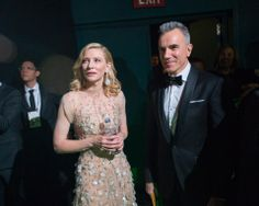 "After winning the category Performance by an actress in a leading role for her role in ""Blue Jasmine"", actress Cate Blanchett backstage with Daniel Day-Lewis. The Oscars® are presented live on ABC from the Dolby® Theatre in Hollywood, CA Sunday, March 2, 2014. credit: Richard Harbaugh / ©A.M.P.A.S."