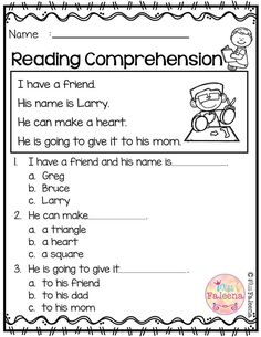 Free Reading Comprehension is suitable for Kindergarten students or beginning readers. There are 15 color and 15 black & white pages of reading comprehension worksheets. Each page contains 3 to 4 sentences passage, a related picture, and 3 multiple choice Kindergarten Morning Work, Kindergarten Reading, Reading Activities, Kindergarten Worksheets, Teaching Reading, Free Reading, Reading Comprehension Worksheets, Reading Fluency, First Grade Reading Comprehension