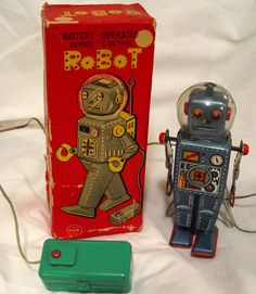 """Many toy robots were sold simply as """"Robot,"""" so collectors have taken to giving them names. This one is known as a """"Domed Easel Back."""""""