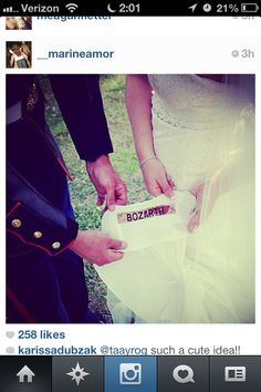Military wedding dress idea! Groom's name patch sewn inside the bride's dress