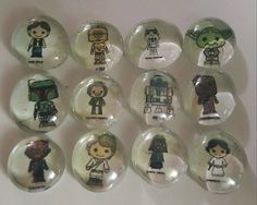 Star Wars Magnets Stones Pins - Custom Geocaching Swag - Set of 12 Characters
