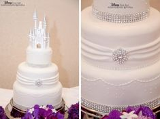 The white chocolate castle topper is one of Disney's classic  wedding cake looks. Gorgeous.