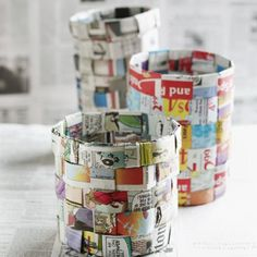 Easy-Weave Newsprint Basket Recycled Crafts Projects for Kids Gallery Kids Crafts, Projects For Kids, Craft Projects, Family Crafts, Craft Ideas, Newspaper Basket, Newspaper Crafts, Recycle Newspaper, Magazine Deco