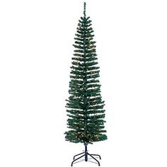 76Hx21W PE Tower Pencil Pine Lighted Artificial Christmas Tree wStand Green -- Details can be found by clicking on the image.
