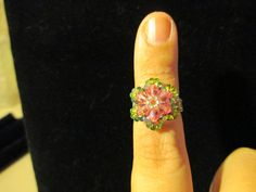 Swarovski Crystal Ring  pink over watermelon size 445 by jsdd, $10.00