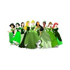 princesses in green ❤ liked on Polyvore featuring disney