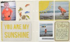 Scrapbook layout using FREE shape of the week sunshine cards