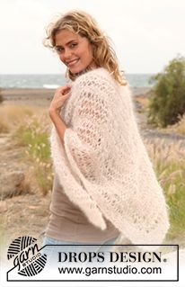 """Spume - Knitted DROPS shawl with long stitch pattern in """"Vienna"""" or """"Melody"""". - Free pattern by DROPS Design"""