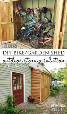 DIY Bike Garden Shed Tutorial from Cedar Wood - Prodigal Pieces - - Do you need extra outdoor storage? Check out this budget-friendly, space-saving DIY bike garden shed. It holds bikes & garden tool extras. Painted Garden Sheds, Garden Shed Diy, Garden Tools, Cedar Garden, Wooden Garden, Diy Bike, Garage Velo, Shed Conversion Ideas, Shed Makeover