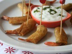 """Pour l'Apéritif ou en Accompagnement d'une Salade, ces Bouchées & Tapas de Crevettes En Roulées dans des Feuilles de brick sont parfumées par une Sauce & Marinade à la """"chermoula"""", une Préparation de base aux Aromates & Epices et Fines herbes (ail, cumin, Coriandre, persil) mélangé à du Citron). Simple et rapide à préparer, vous pourrez éventuellement remplacer la marinade de chermoula par du Pesto ou de la Pâte de Curry rouge, bref, comme bon vous semble car les alternatives sont multiples… French Toast, Dairy, Favorite Recipes, Cheese, Snacks, Cooking, Breakfast, Ethnic Recipes"""