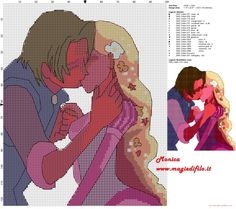 Tangled and Eugene cross stitch pattern