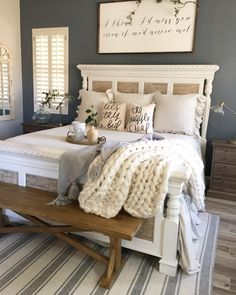 "997 Likes, 58 Comments - Jaci Hodge (@shabbydesertnest) on Instagram: ""Sunday's are for breakfast in bed... ☀️#sundayhomeinspo #letsstayinbed #bedroom #farmhouse…"""