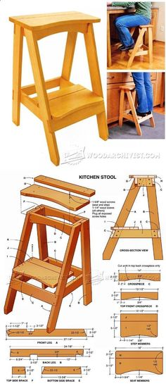 Kitchen Step Stool Plans - Furniture Plans and Projects - Woodwork, Woodworking, Woodworking Plans, Woodworking Projects Woodworking Furniture Plans, Easy Woodworking Projects, Popular Woodworking, Teds Woodworking, Wood Furniture, Woodworking Classes, Furniture Stores, Woodworking Articles, Woodworking Apron