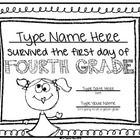 First+Day+of+School+Certificate+(Fourth+Grade):+This+fun+certificate+is+a+great+way+to+celebrate+back+to+school!+So+simple+to+use+-+type+the+name+a...