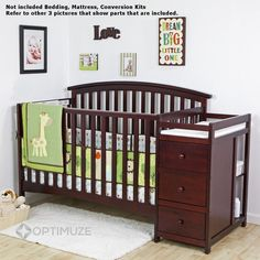 5 in 1 Side Convertible Crib Changer Nursery Furniture Baby Toddler Bed Cherry for sale online Buy Buy Baby Cribs, Baby Cribs For Twins, Twin Cribs, Girl Cribs, Girl Nursery Bedding, Cot Bedding, Crib With Changing Table, Cot Bed Mattress, Baby Travel Bed