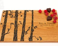 Wedding Gift Personalized Cutting Board Birds on a Swing