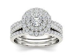 De Couer 10k White Gold 1 1/2ct TDW Diamond Double Halo Engagement Ring (H-I, I2)