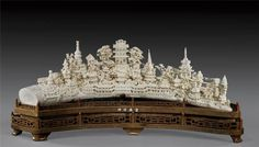 a magnificent Chinese ivory Temple Complex with surrounding pavilions and… Wild Elephant, Oriental Decor, Bone Carving, Ivoire, First Photo, Asian Art, Bones, Scene, Antiques