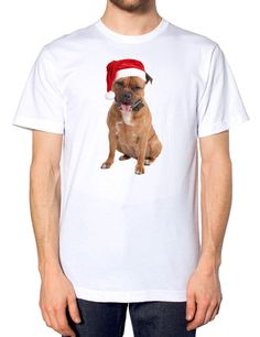 38592b29367cb Details about Staffordshire Bull Terrier Staffie Santa Hat Christmas T Shirt  Puppy Dog Owner