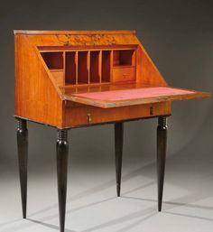 secretary 1925 art deco secrétaire inclined veneered in palissander wood and black stained wood. Sloped furniture that opens on the front to a mahogany interior