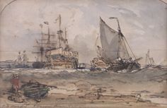 View marine scene By ; Access more artwork lots and estimated & realized auction prices on MutualArt. His Travel, Art Gallery, Scene, Watercolor, Artist, Artwork, Painting, Pen And Wash, Art Museum