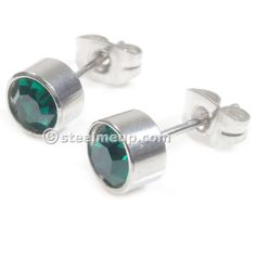 Pair Stainless Steel Silver Round Tube Green Cubic Zirconia Post Stud Earrings 6mm