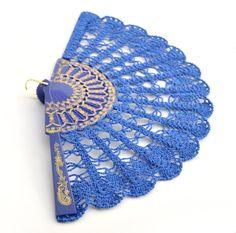 Cobalt Blue Lace Fan Hand Held Fan Handmade by ModernCrochetClub