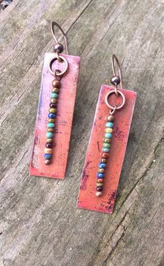 Bohemian Southwestern Inspired Copper Rectangle Earrings with Colorful Beaded Dangles