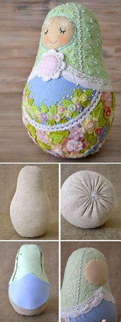 Felt Matryoshka (Babushka) Russian Doll Sewing Pattern Tutorial http://www.handmadiya.com/2017/04/how-to-sew-matryoshka.html