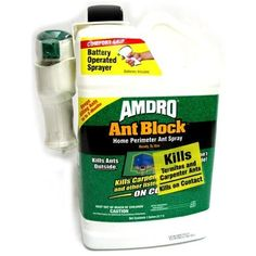 "Amdro Ant Block Ready to Use Home Perimeter Ant Spray, 1-Gallon by Amdro. $22.22. Ant block ready to use home perimeter ant spray. It keeps killing for up to 3 months. Measures 5-inch length 9-inch width 12-inch height. This convenient, ready to use liquid spray kills termites and carpenter ants. Includes patented ""comfort grip"" battery operated sprayer system. This ant block ready to use home perimeter ant spray kills termites and carpenter ants. This ready to use..."
