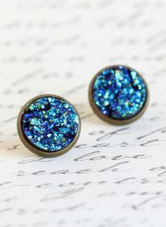 Brass Post Earrings Blue Sparkle Stud Earrings