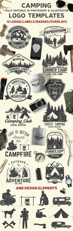 Camping Club Badges Template PSD, Vector EPS, AI Illustrator