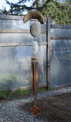Wind Chime Beach Stone Driftwood Sea Glass Copper