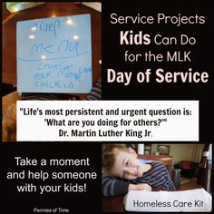 Service Projects Kids Can Do--This is what we are doing on the MLK Day of Service.  AND, there is a link up for others to share what they do to teach their kids to serve, volunteer in the community!