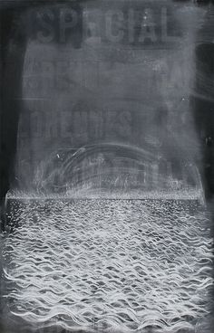Chalk | 122 x 78.5 cm | Spray-fixed chalk upon antique canvas (with blackboard paint)