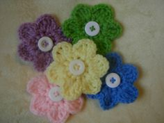 Spring Crochet Flower Hair Clips for babies by MommyCabinFever, $3.00
